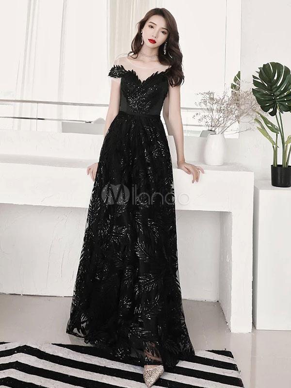 4da798fbfe33f Black Evening Dresses Long Formal Lace Sequin Prom Dress - Milanoo.com