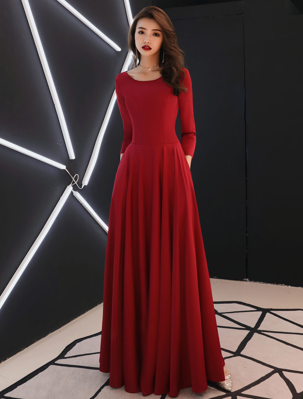 burgundy evening dresses long sleeve prom dress a line formal gowns with  pockets