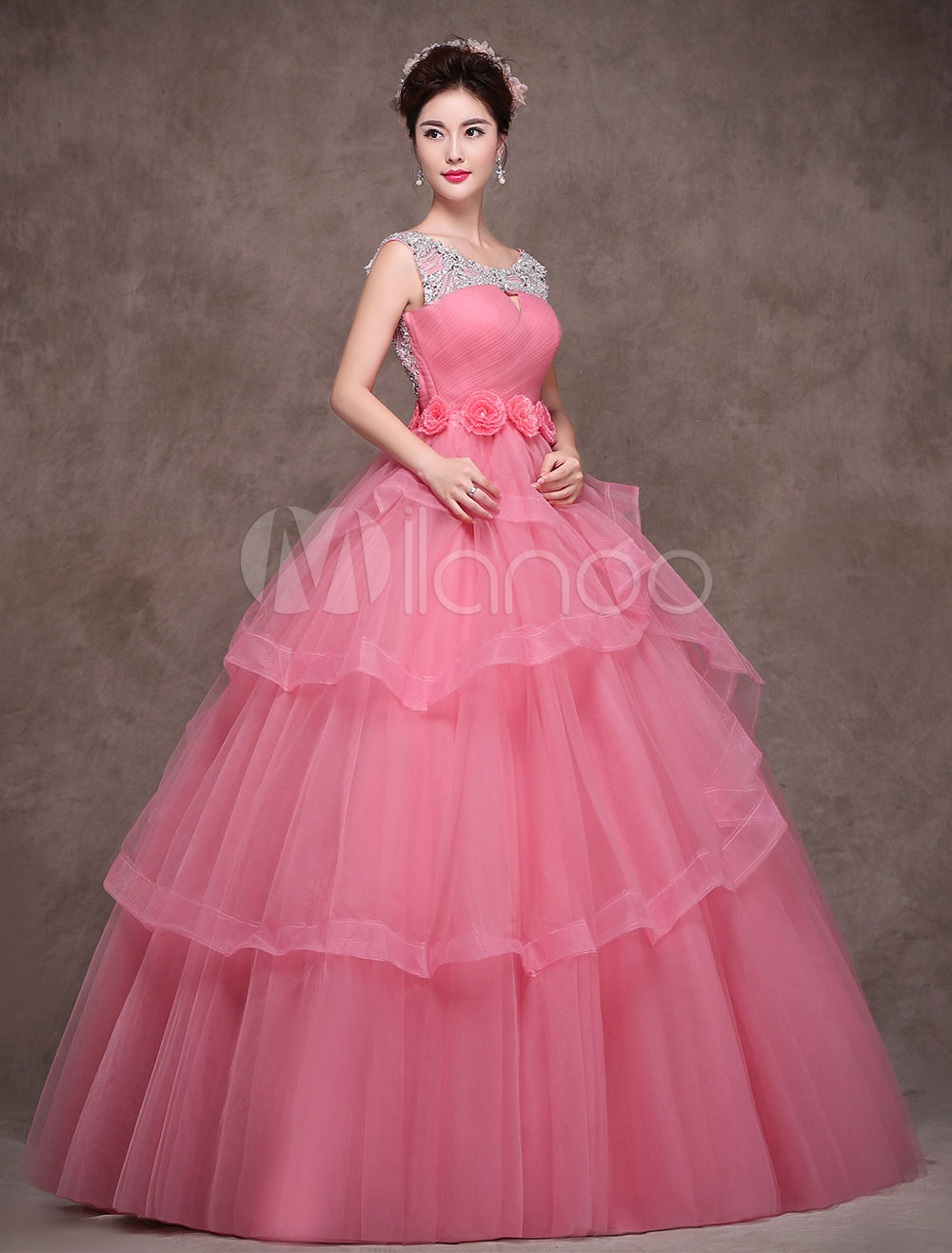 ac02cfbe763 Princess Quinceanera Dresses Luxury Salmon Tulle Floor Length Beaded Maxi  Women Pageant Dress-No.