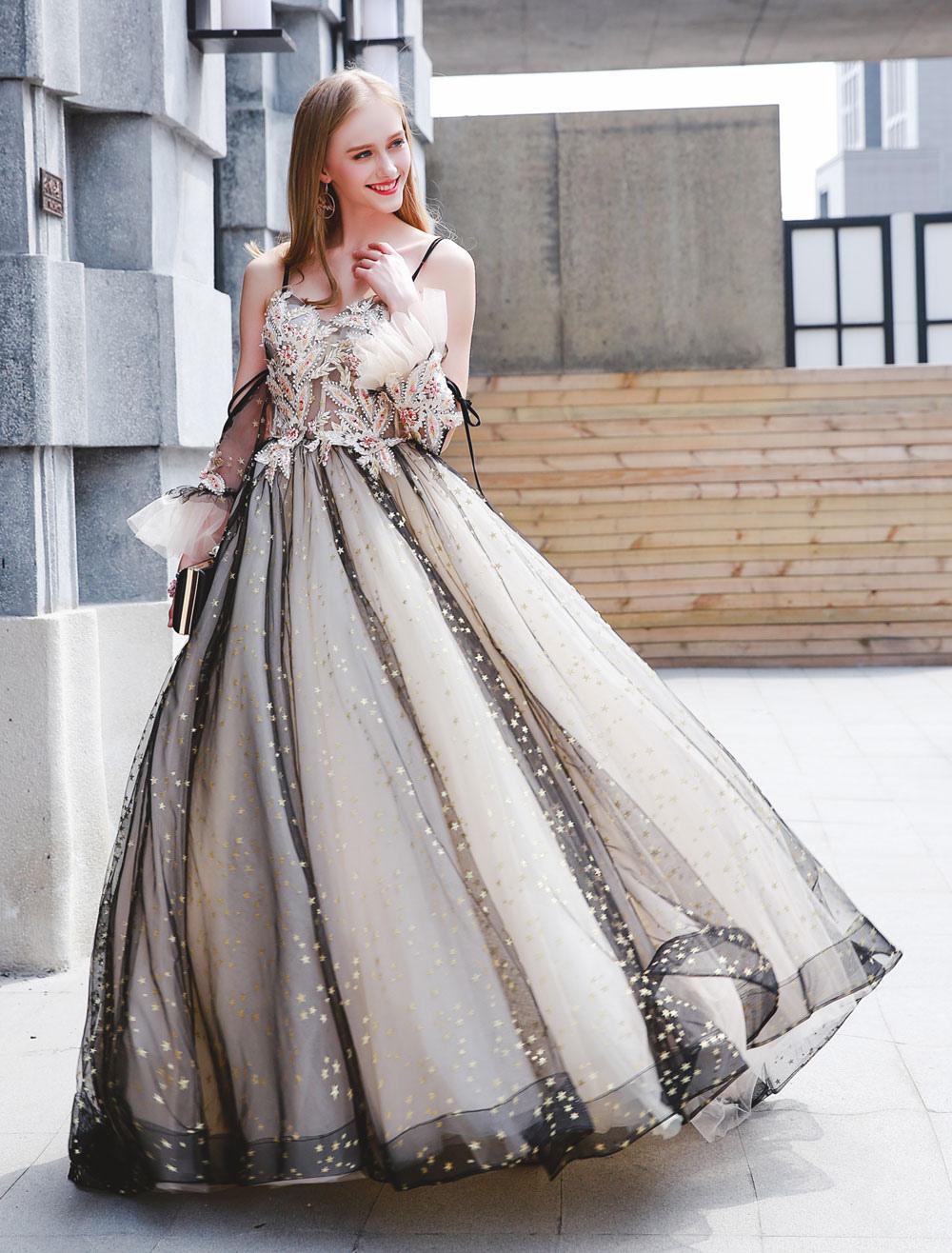 Quinceanera Kleider Schwarz Luxus Tüll Ballkleider Perlen Perlen Maxi  Frauen Pageant Kleid