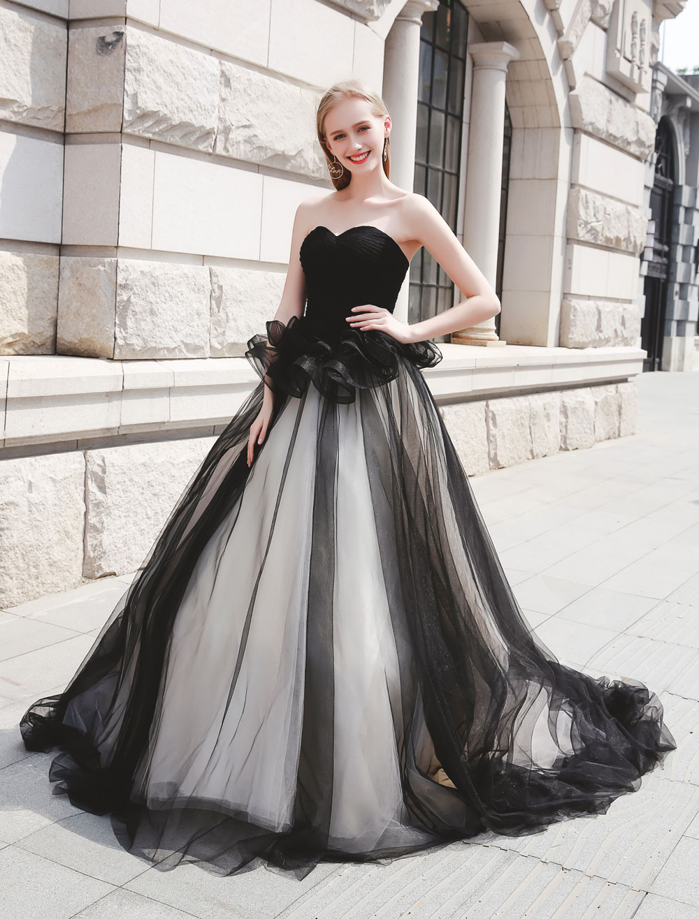 Black Pageant Party Dress Women Strapless Tulle Luxury Princess Gowns