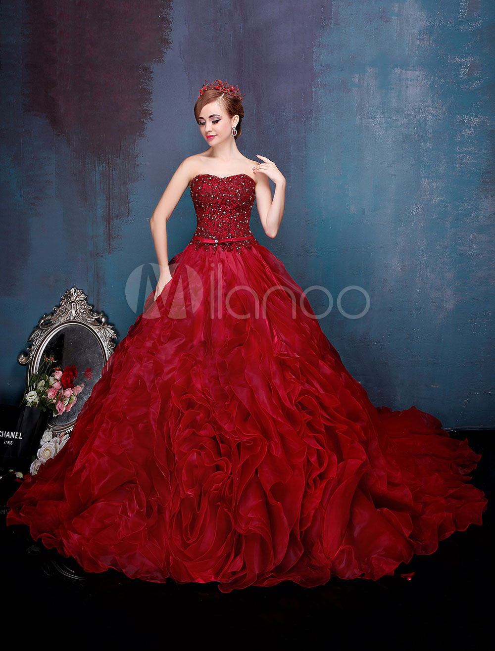 49b33ee15b1 ... Princess Quinceanera Dresses Luxury Burgundy Long Train Princess  Pageant Dress-No.3 ...
