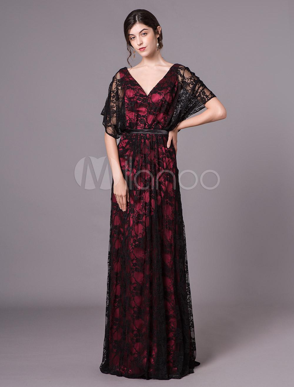 dd1844576 Mãe da noiva vestidos de renda meia manga v pescoço preto vestido de noite  formal- ...