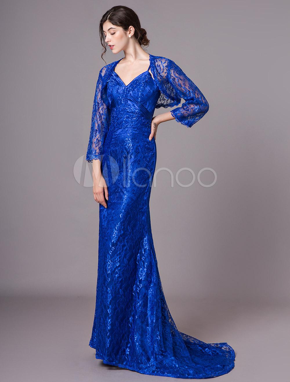 brautmutterkleider etui- abendkleider für hochzeit spitze abendkleider mit  spitze königsblau langarm viereckiger ausschnitt mit schleppe