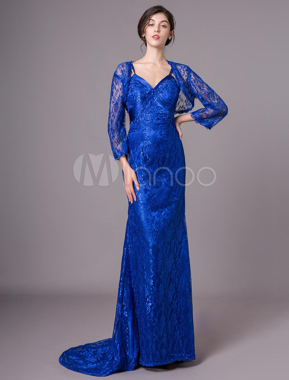 free shipping b691e 0280e Abito da sposa e abito per la madre della sposa Abito da cerimonia per  matrimoni con maniche lunghe in pizzo blu