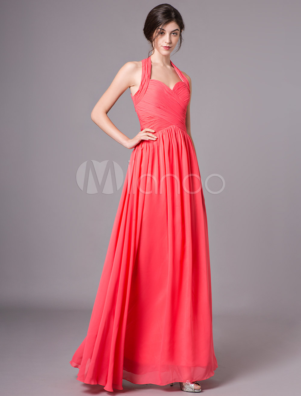 63da67fc36c Coral Bridesmaid Dresses Long Chiffon Halter Pleated Backless Wedding Party  Dress-No.1 ...