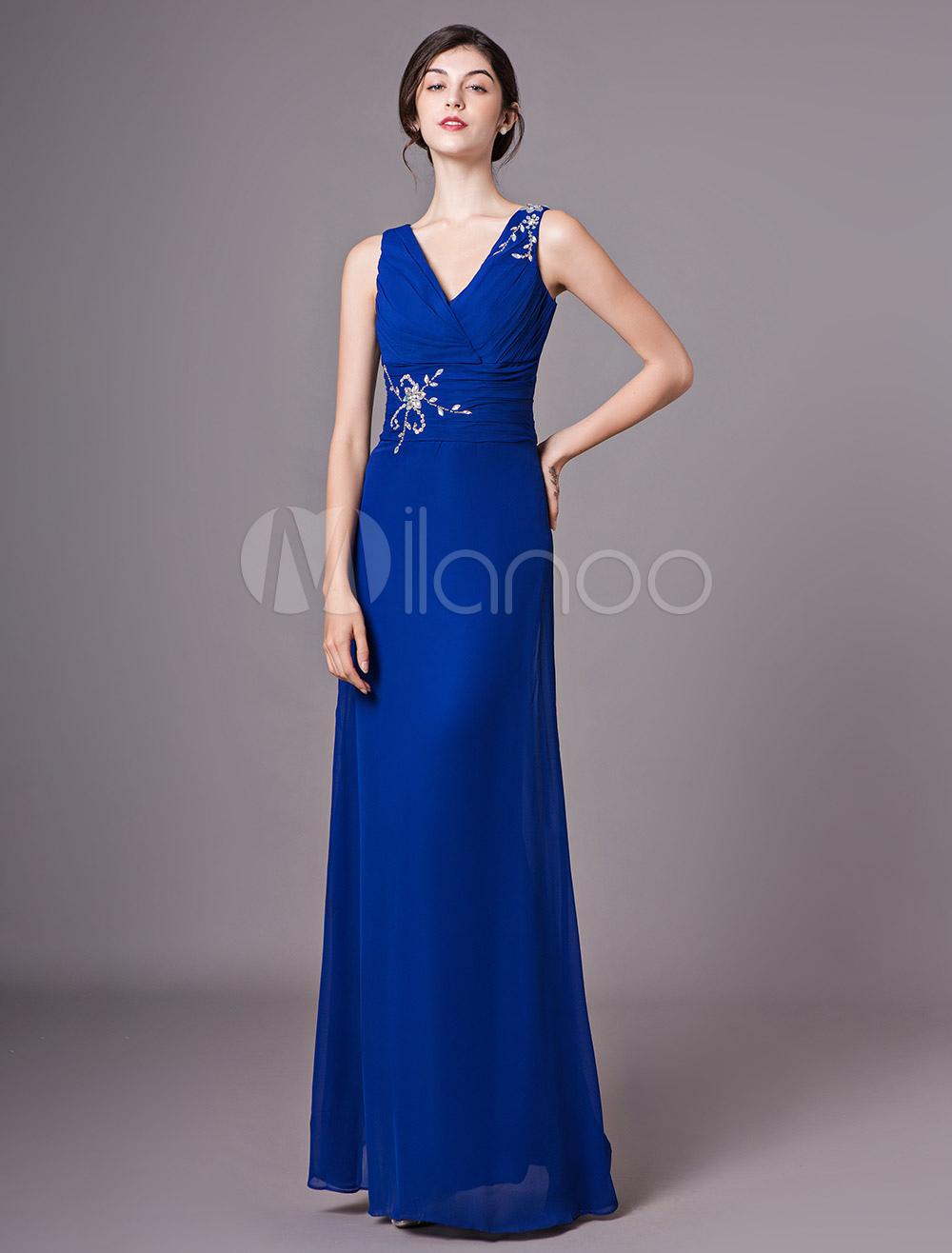 Abiti Da Sera Blu.Abito Da Sera Blu Royal Con Scollo A V In Chiffon Con Perline