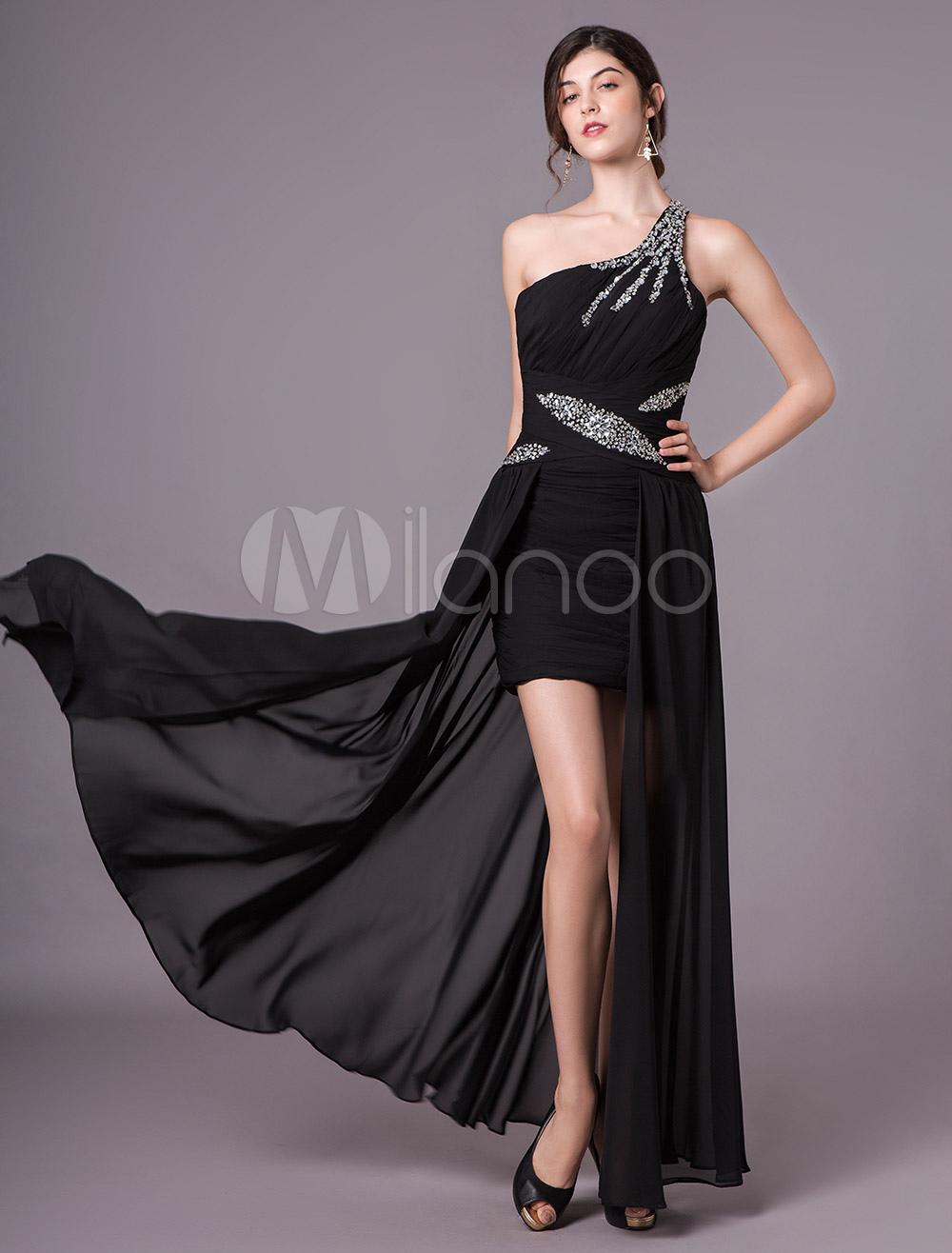559a11909eb58 Black Prom Dresses One Shoulder Chiffon High Low Beading Long Formal  Evening Dress