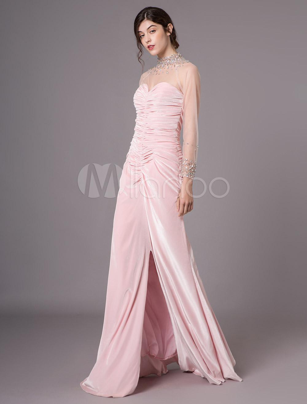 Evening Dresses Winter Long Sleeve High Collar Velvet Soft Pink Prom