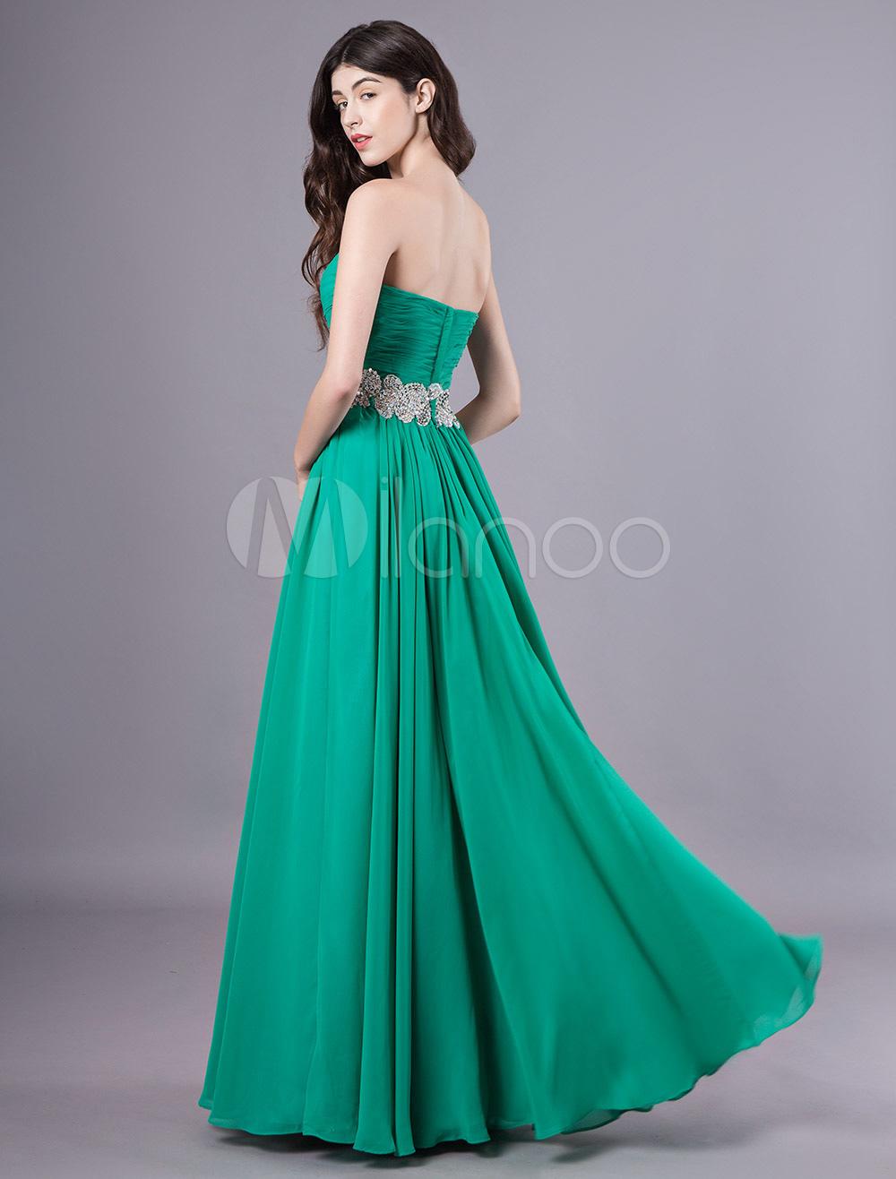 2a3f00d5287 Платье вечернее без бретелек синее зеленое синее шифоновое платье Maxi  формальное вечернее платье-No.