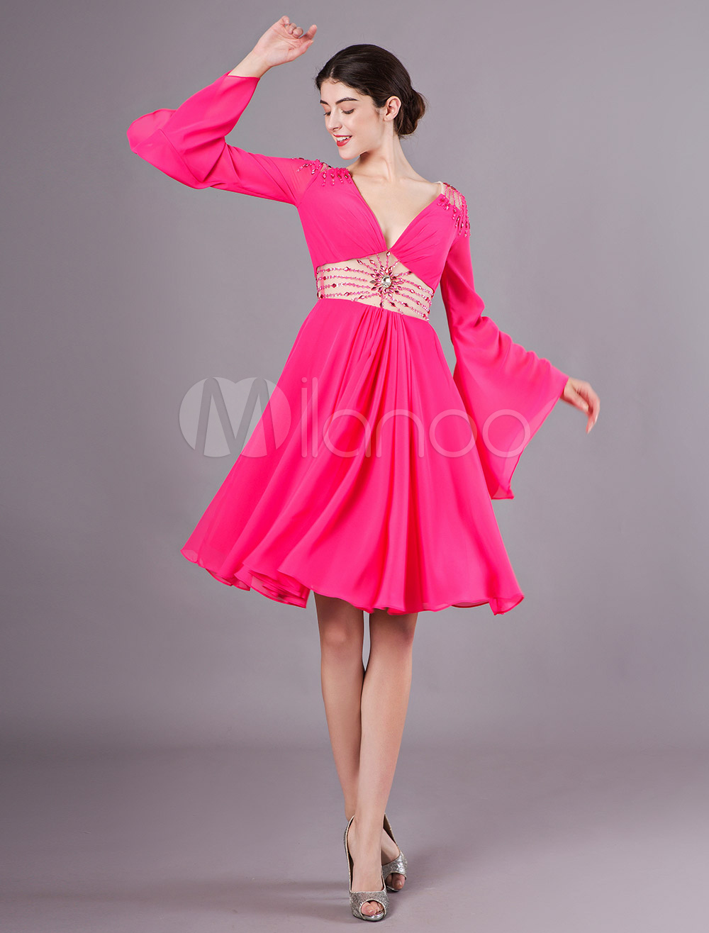 online for sale factory authentic lowest discount Wedding Guest Dresses Long Sleeve Hot Pink V Neck Chiffon Beaded Cocktail  Dress