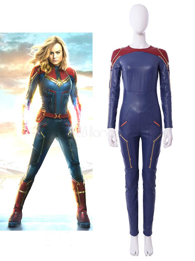 19c44f9d2dd4 Capitan Marvel 2019 Film Carol Danvers Marvel Comic Halloween Cosplay  Zentai Solo Zentai senza gilet- ...