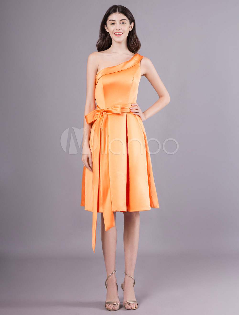 cocktail dresses satin pockets orange one shoulder ribbon