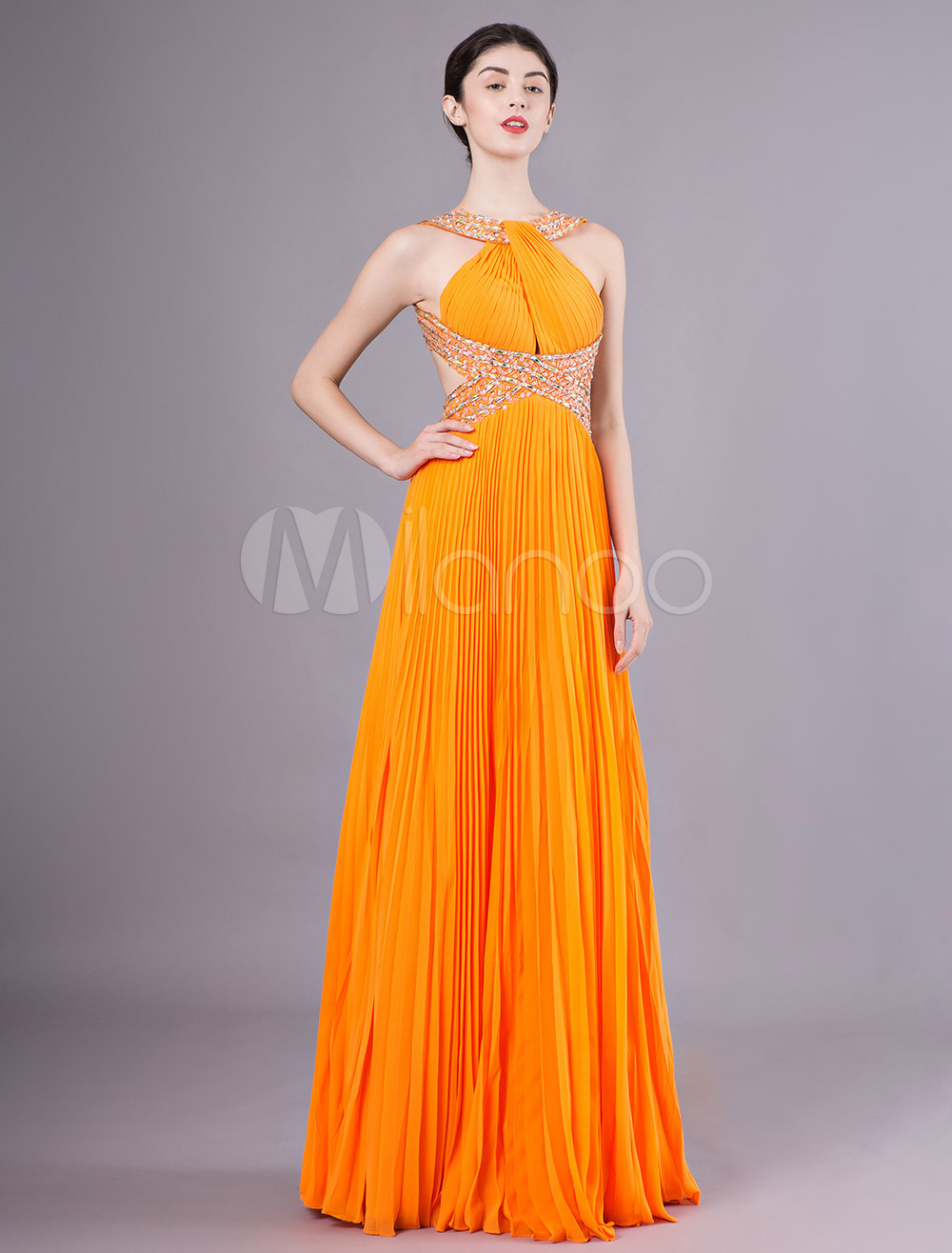 680f678cf3e41 Prom Dresses Orange Pleated Halter Chiffon Beading Backless Maxi Evening  Dress-No.1 ...