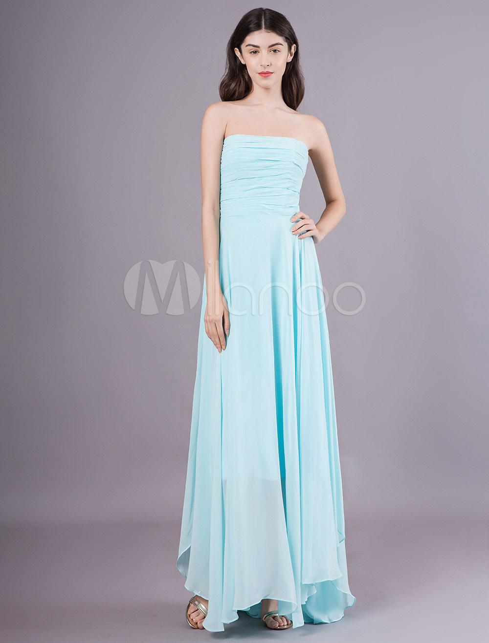 Vestidos De Dama De Honra Longo Chiffon Vestido De Festa De Casamento Sem Alças Assimétrico Vestido De Baile