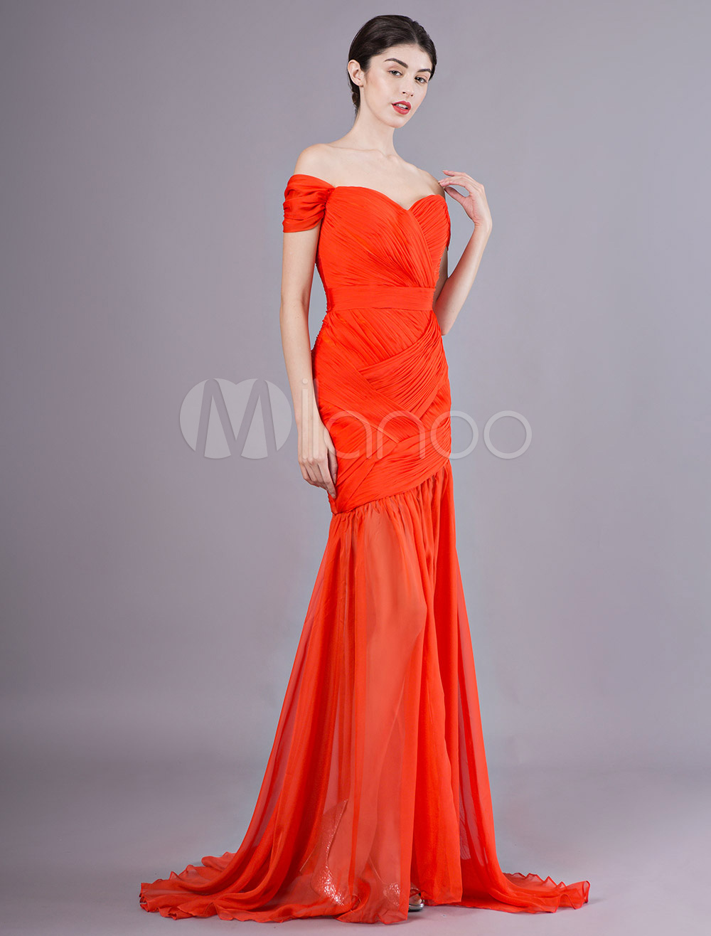 5dbb362a3c4 Evening Dresses Off The Shoulder Orange Red Pleated Mermaid Prom Dress With  Train-No.