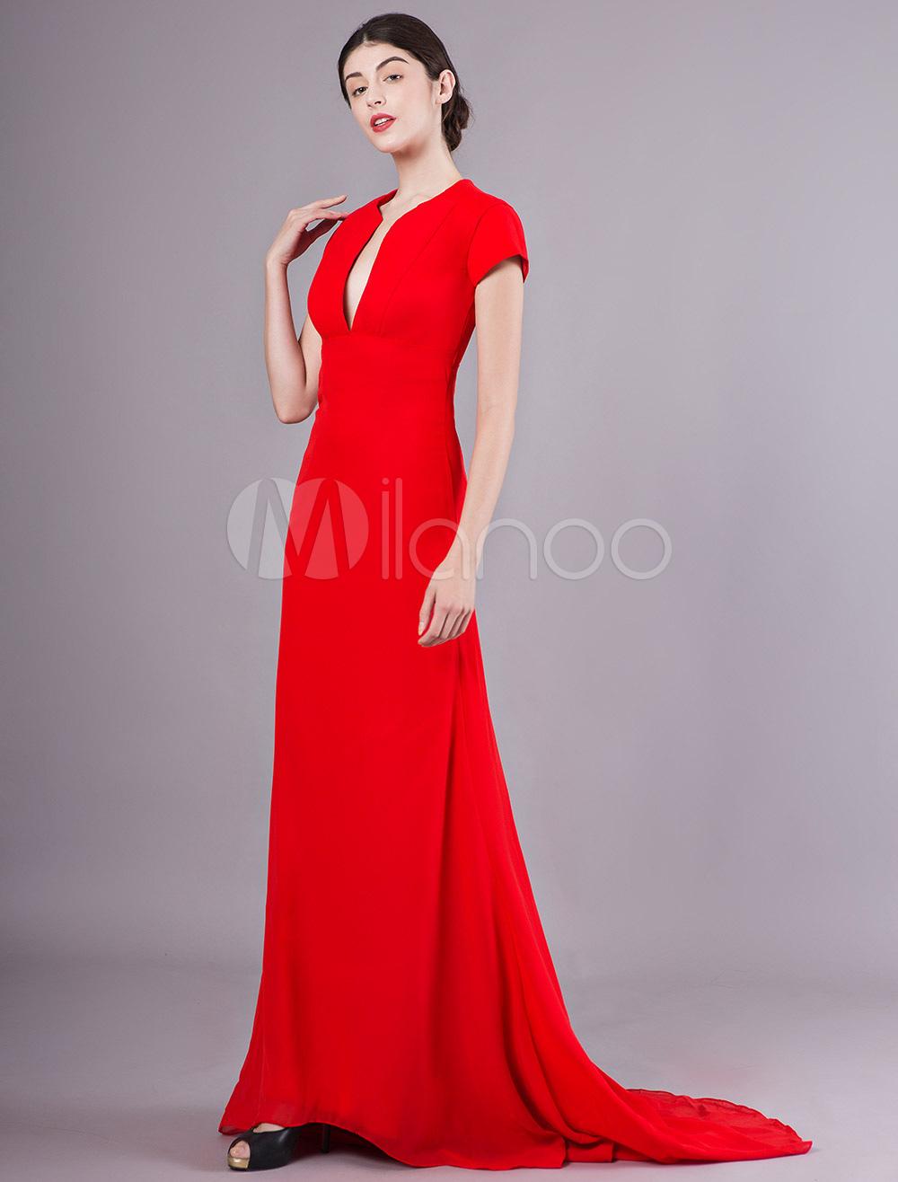 abendkleider v-ausschnitt hochzeit kurzarm günstige abendkleider rot  formelle kleider chiffon etui- mit reißverschluss und court-schleppe 30cm