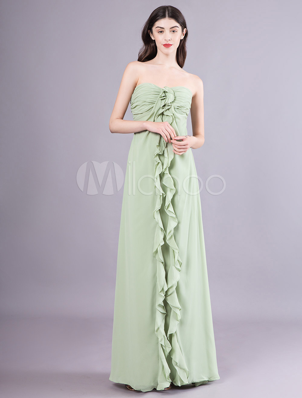 b560f290f7049f Robes de demoiselle d'honneur vert sauge bustier chérie volants en cascade  longue robe de soirée