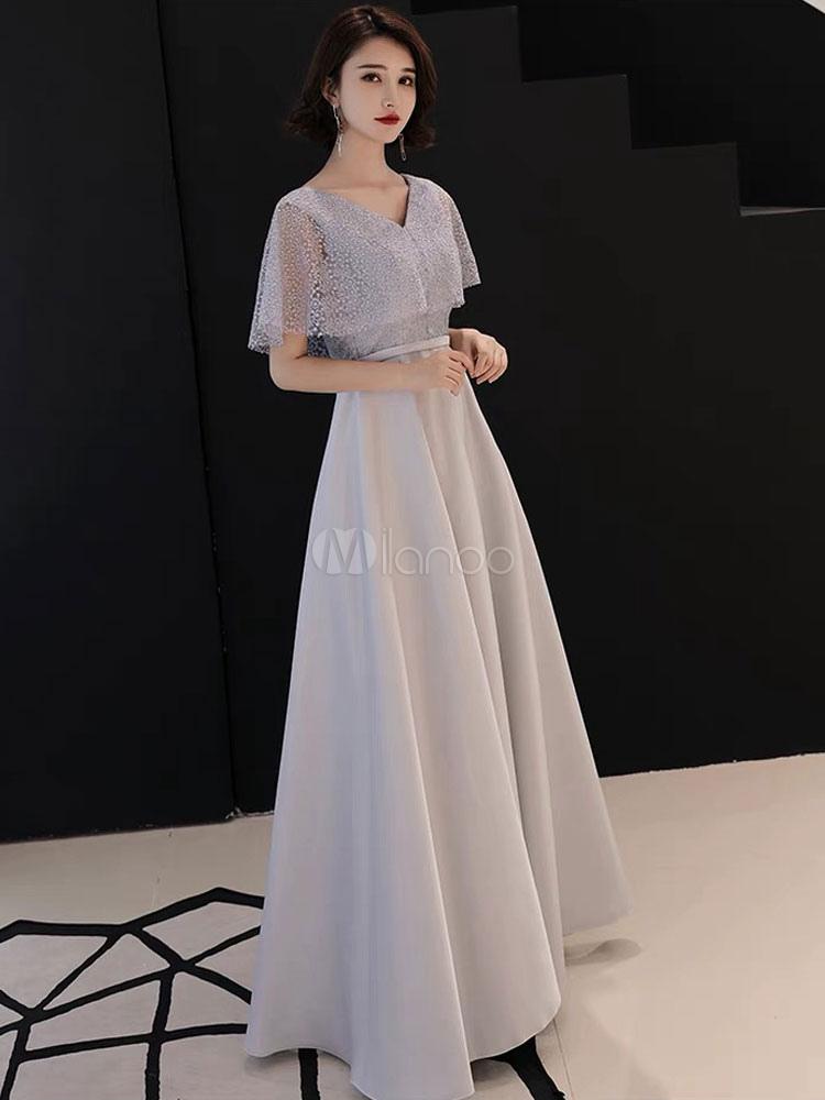 207727aac ... Vestidos de fiesta grises claros Vestido de encaje formal con cuello en V  Largo para ocasiones ...