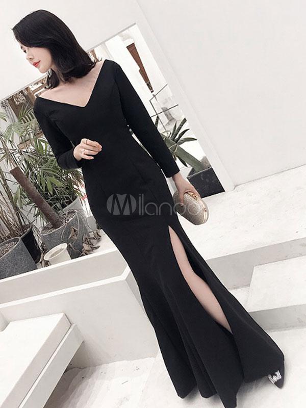 00ed529a8 ... مثير فساتين سهرة أسود انقسام الخامس عنق طويل كم فستان المناسبات  الرسمية-No.3 ...