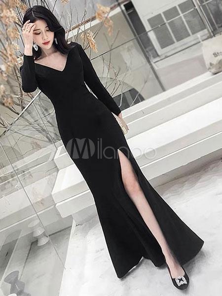 3924b7eddb0a2 مثير فساتين سهرة أسود انقسام الخامس عنق طويل كم فستان المناسبات  الرسمية-No.1 ...