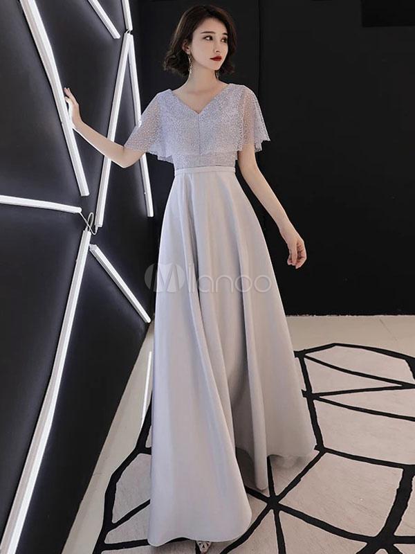 24d858e25 Vestidos de fiesta grises claros Vestido de encaje formal con cuello en V  Largo para ocasiones ...