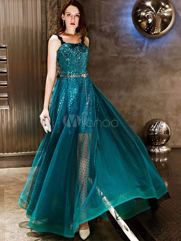 5d2e903f0d Prom Dresses Long Blue Green Straps Sequin Lace Tulle Maxi Formal Party  Dress-No.