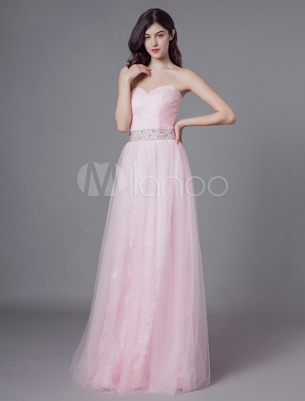 watch ddb91 5f1e2 Abiti da sera Lungo Tulle Morbido Rosa Senza spalline Perline Maxi Vestito  da cerimonia formale