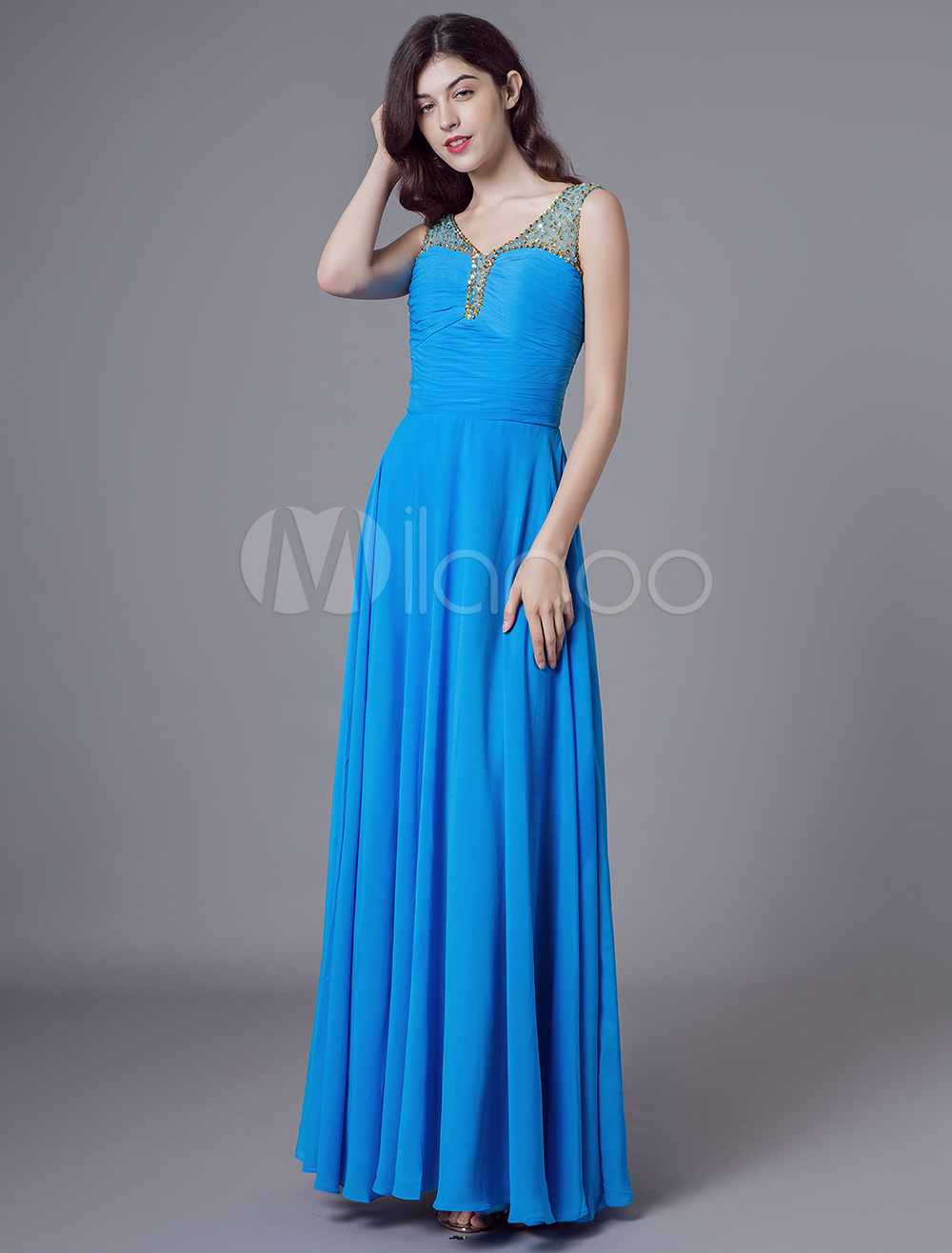 cheaper 18325 33bac Abiti da sera blu Chiffon bordare lungo abito da ballo scollo a V maxi  abiti da cerimonia