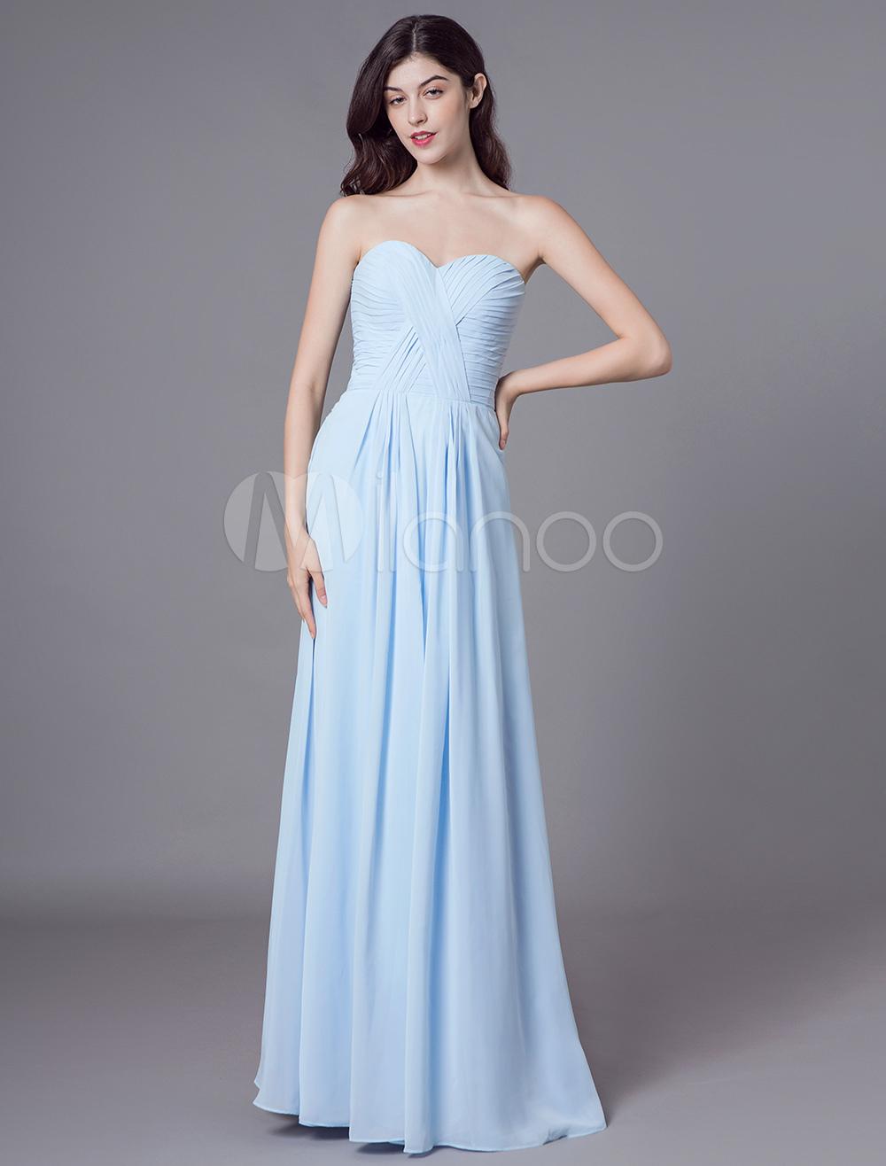 brand new 11216 1902f Abiti da damigella d'onore Abiti da cerimonia lunghi lunghi blu pastello  con scollo a cuore senza spalline