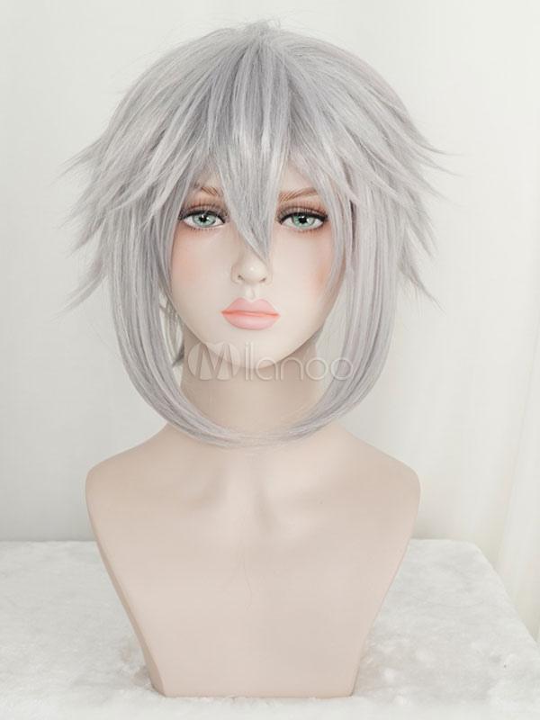 Kingdom Hearts 3 Riku Short Silver Gray Wig Hair Halloween Cosplay Wig+Cap No.