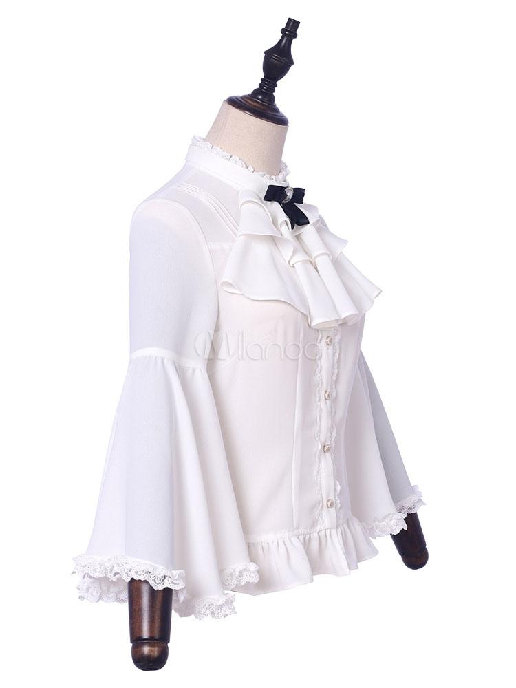 clásico la mejor actitud diseño distintivo Camisa Clásica De Lolita Candlelight Whisper Volante Fruncido Encaje Bow  Blusa Blanca De Lolita