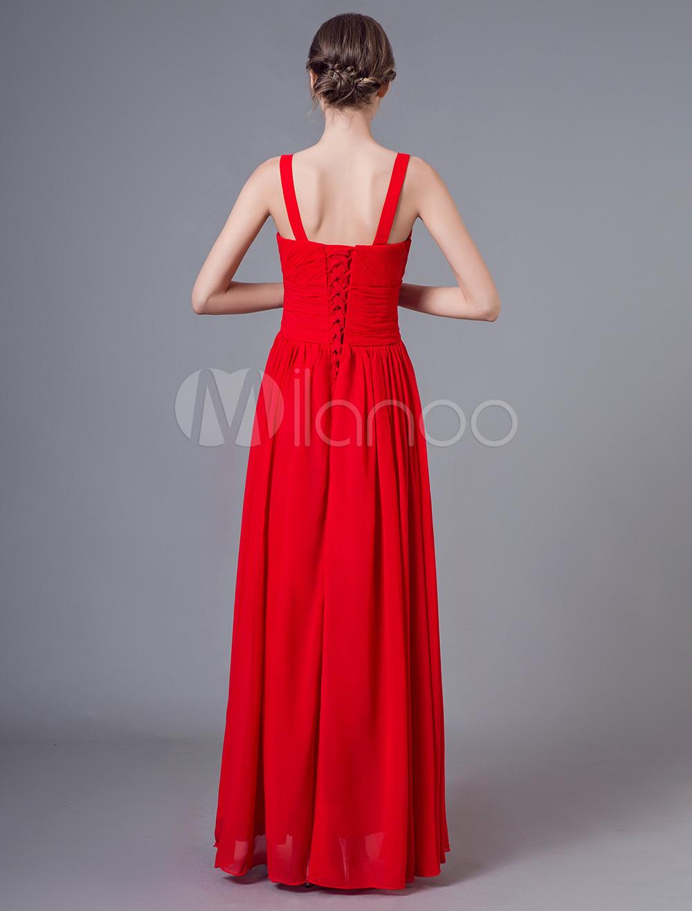 robes de bal 2019 rouge mousseline de soie longue robe de. Black Bedroom Furniture Sets. Home Design Ideas