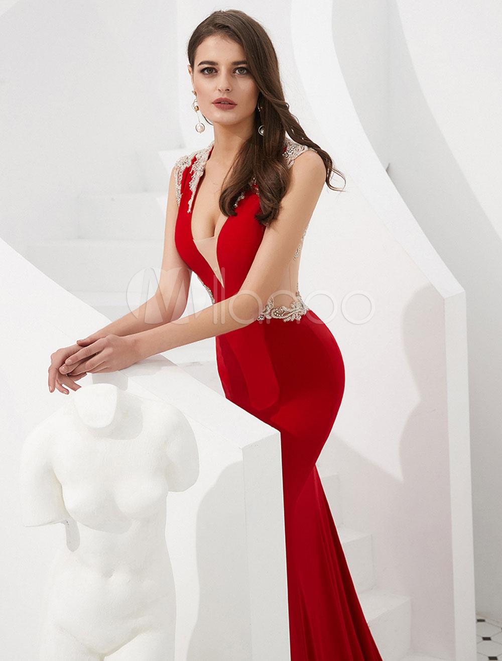 ... Abiti da sera rossi Mermaid Luxury Sexy Prom Dress Abiti da cerimonia  con scollo a V ... 79095ebc88c
