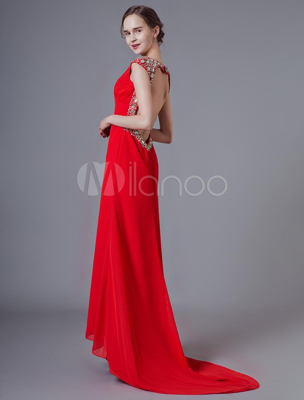 b9b883fd61b3 Abiti da sera rosso sexy vestito da promenade Backless Sweetheart chiffon  abiti convenzionali con il treno ...