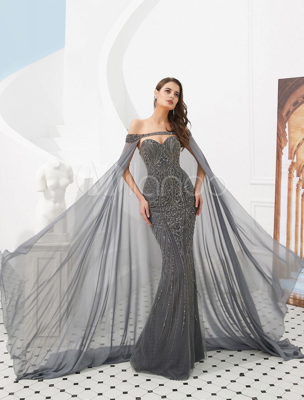 dfc1fcfb9665 Abiti da sera Mermaid Grigio Abiti da sera di lusso in rilievo pesante con  mantello- ...