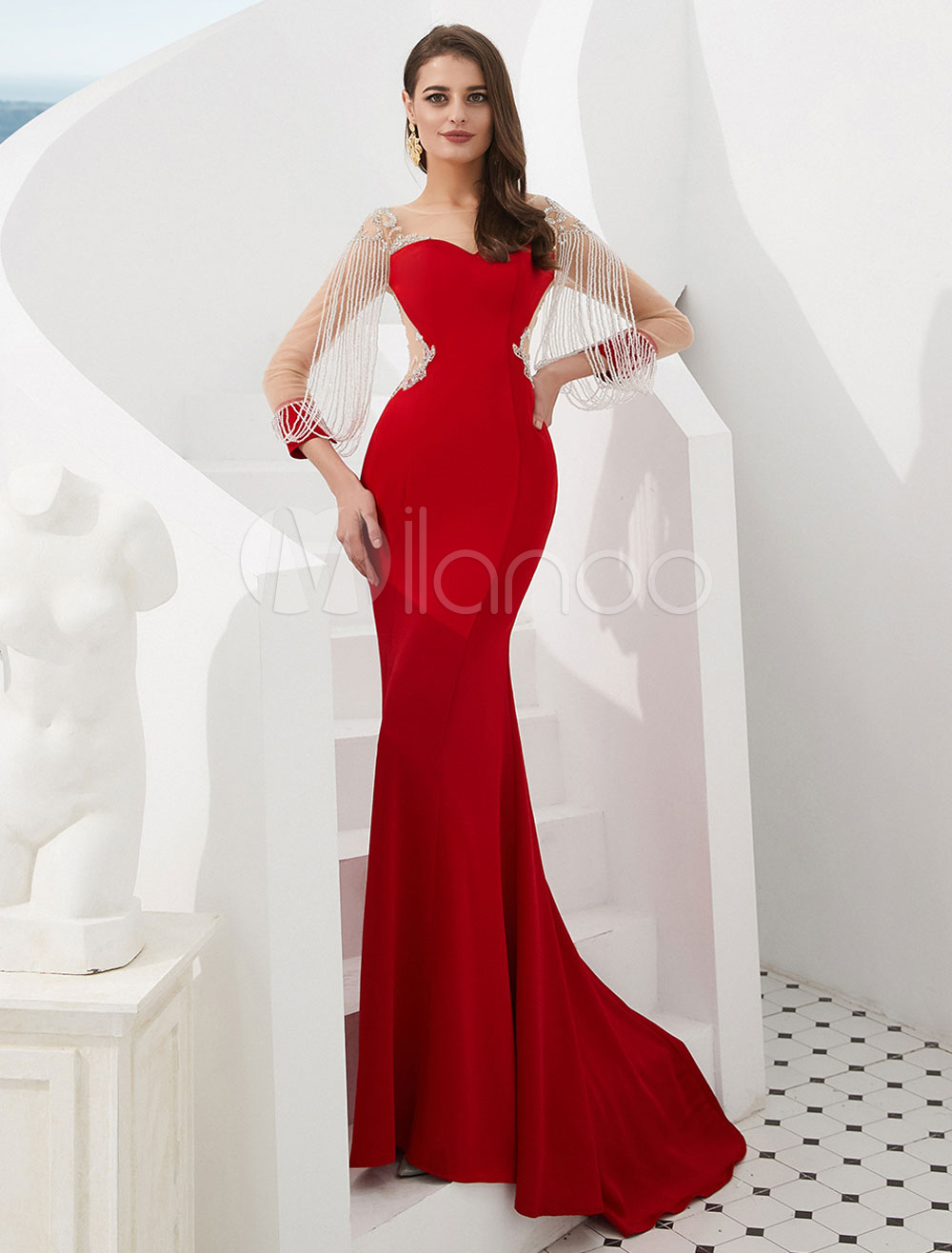 rote abendkleider meerjungfrau ketten illusion lange Ärmel luxus  abendkleider