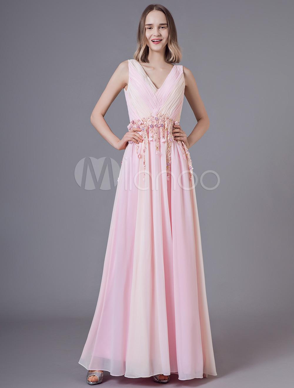 ea0bd385144 Платья для выпускного вечера Мягкие розовые длинные шифоновые бисерные 3D  цветы плиссированные V-образным вырезом ...