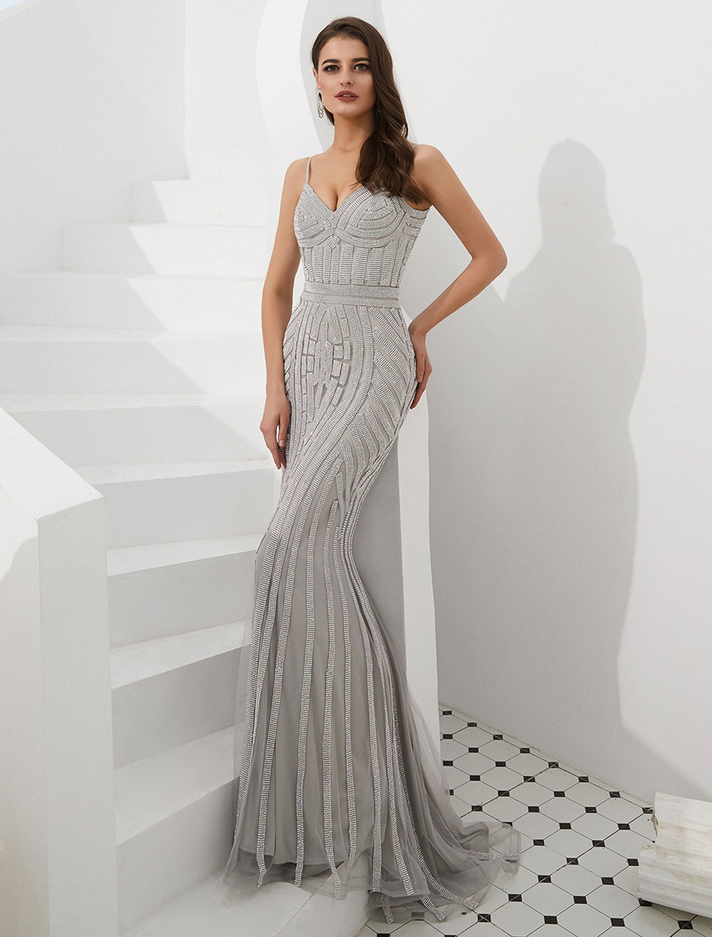 mermaid evening dresses luxury heavy beaded straps formal gowns with train