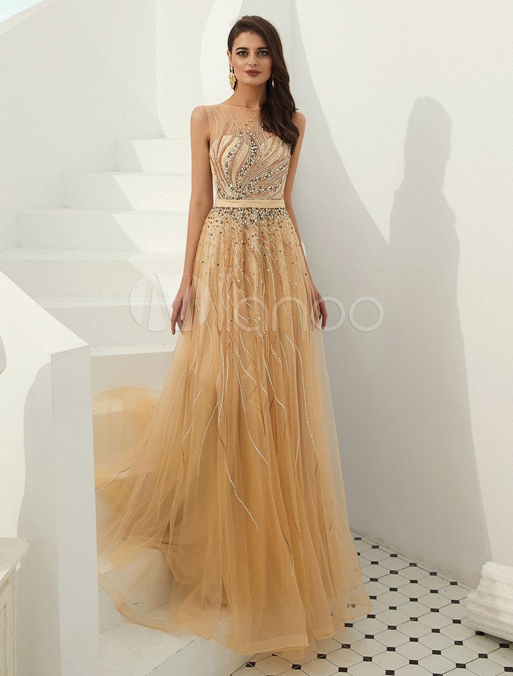 save off 80479 3af32 Abiti da sera oro chiaro Tulle Sash Perline Luxury Maxi abito da sera  formale