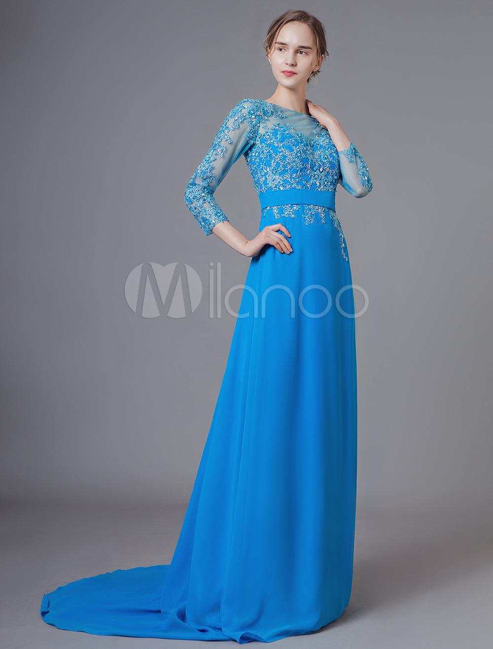 Kleid langarm spitze blau
