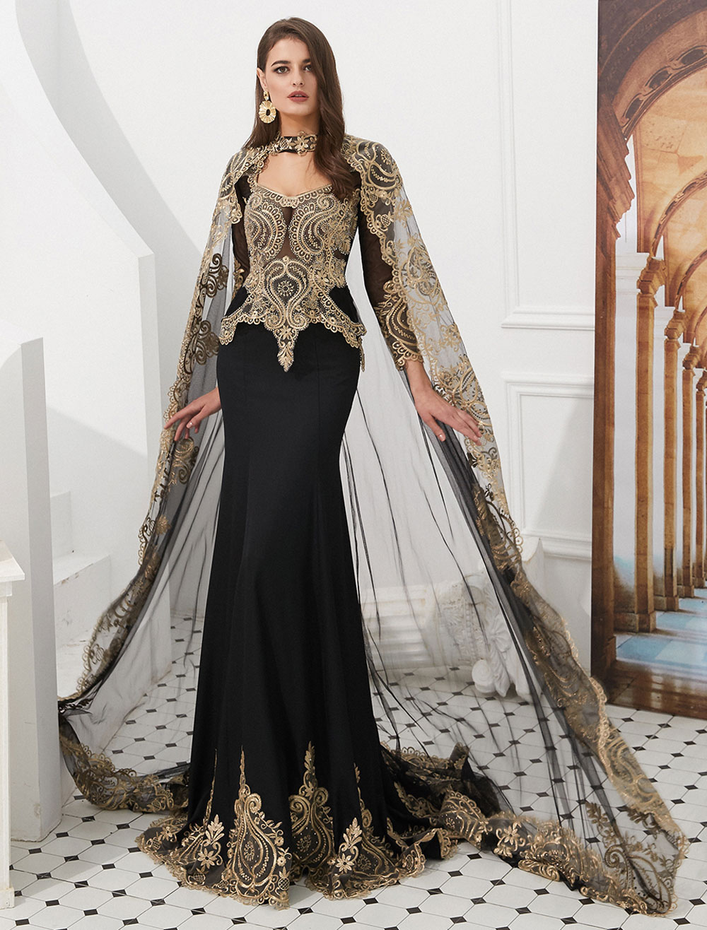 c5765abfa76 Luxury Evening Dresses Embroidered Beaded Queen Anneneck Long Sleeve Formal  Gowns With Cloak-No.