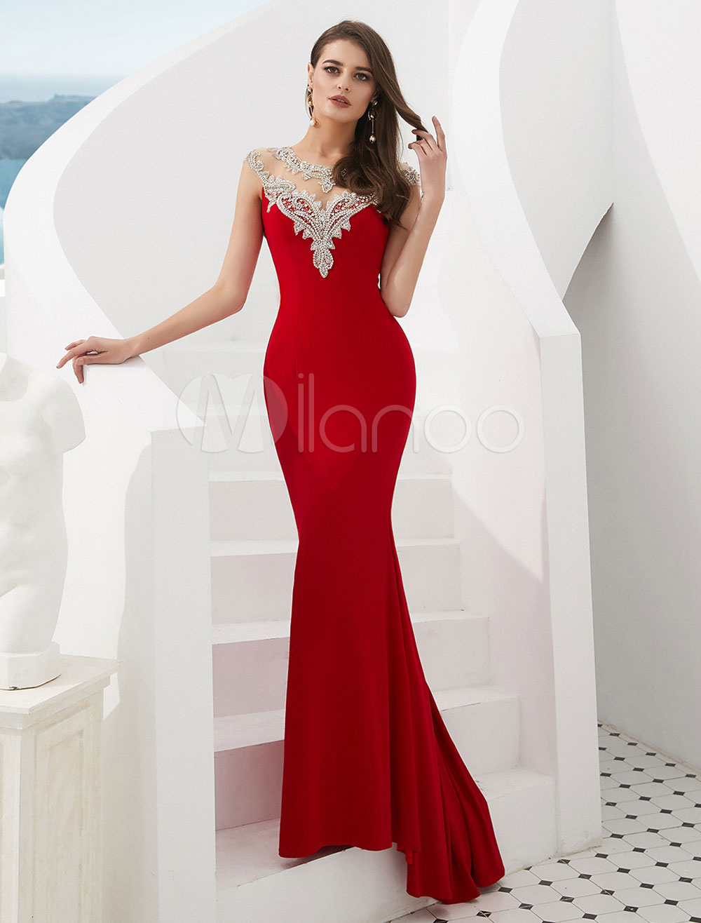 numerosi in varietà stile limitato calzature Abiti da sera rossi Mermaid Luxury Cutout Beaded Sleeveless Gowns formali  con il treno