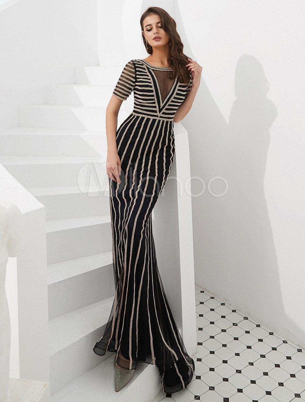 2e09d6f864871 Mermaid Evening Dresses Short Sleeve Beaded Stripes Illusion V Neck Formal Occasion  Dress-No.