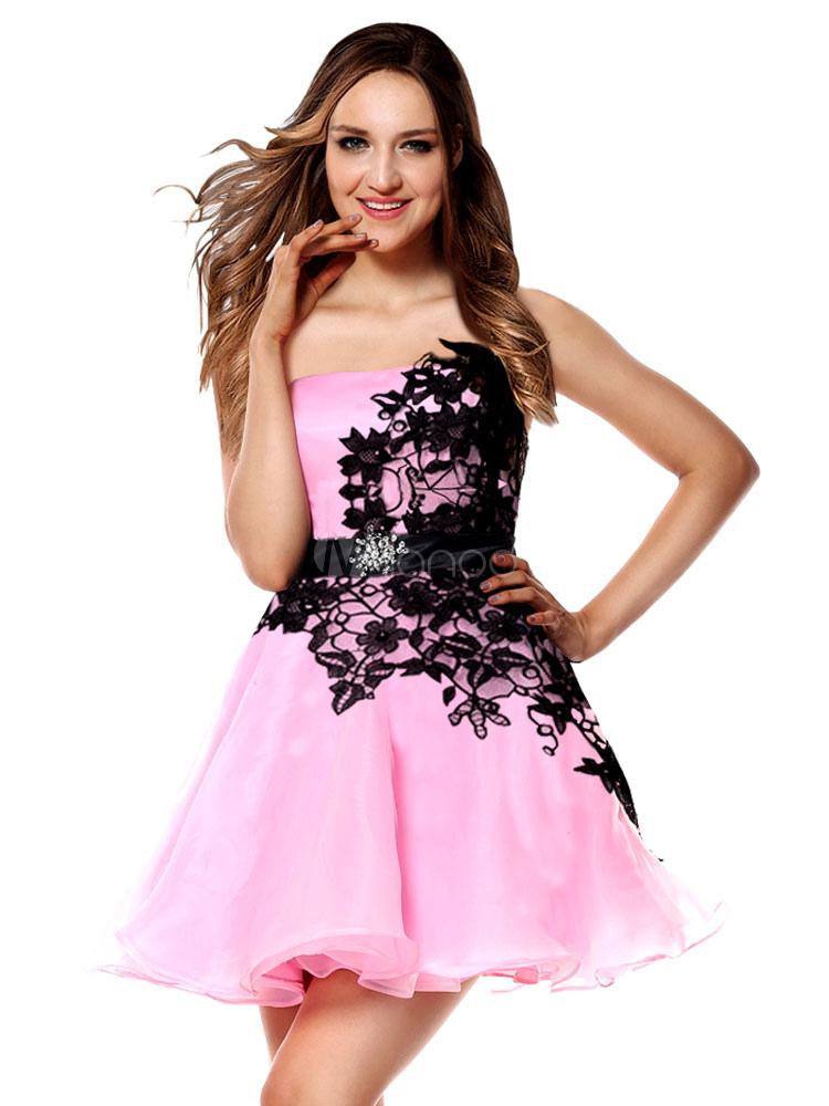 timeless design a6c31 a90b0 Abiti da sera corti Vestito da laurea rosa tenui Abito da cerimonia nuziale  con strass in pizzo a una spalla Mini