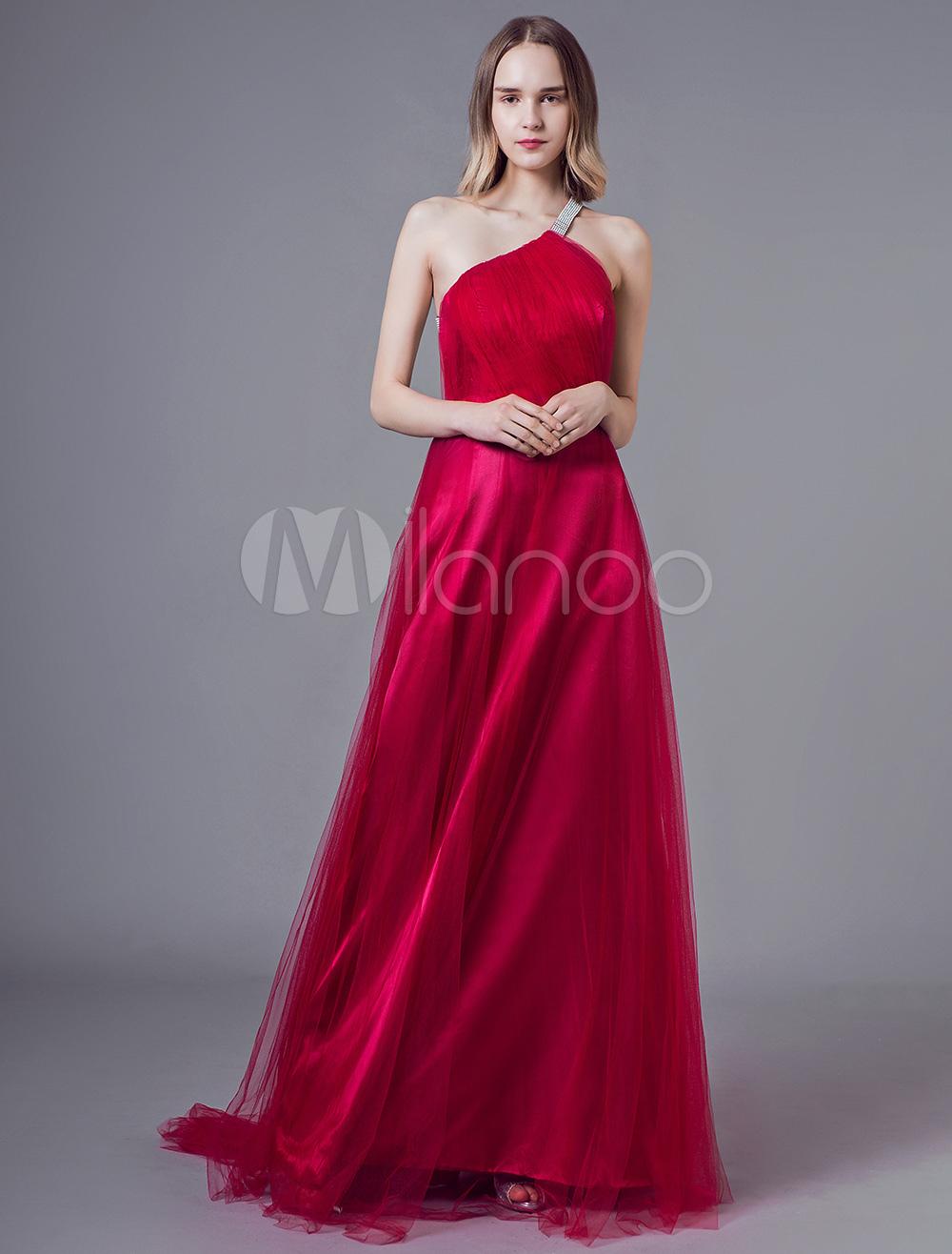 abendkleider rubin eine schulter tüll backless sicke plissee abendkleid mit  schleppe
