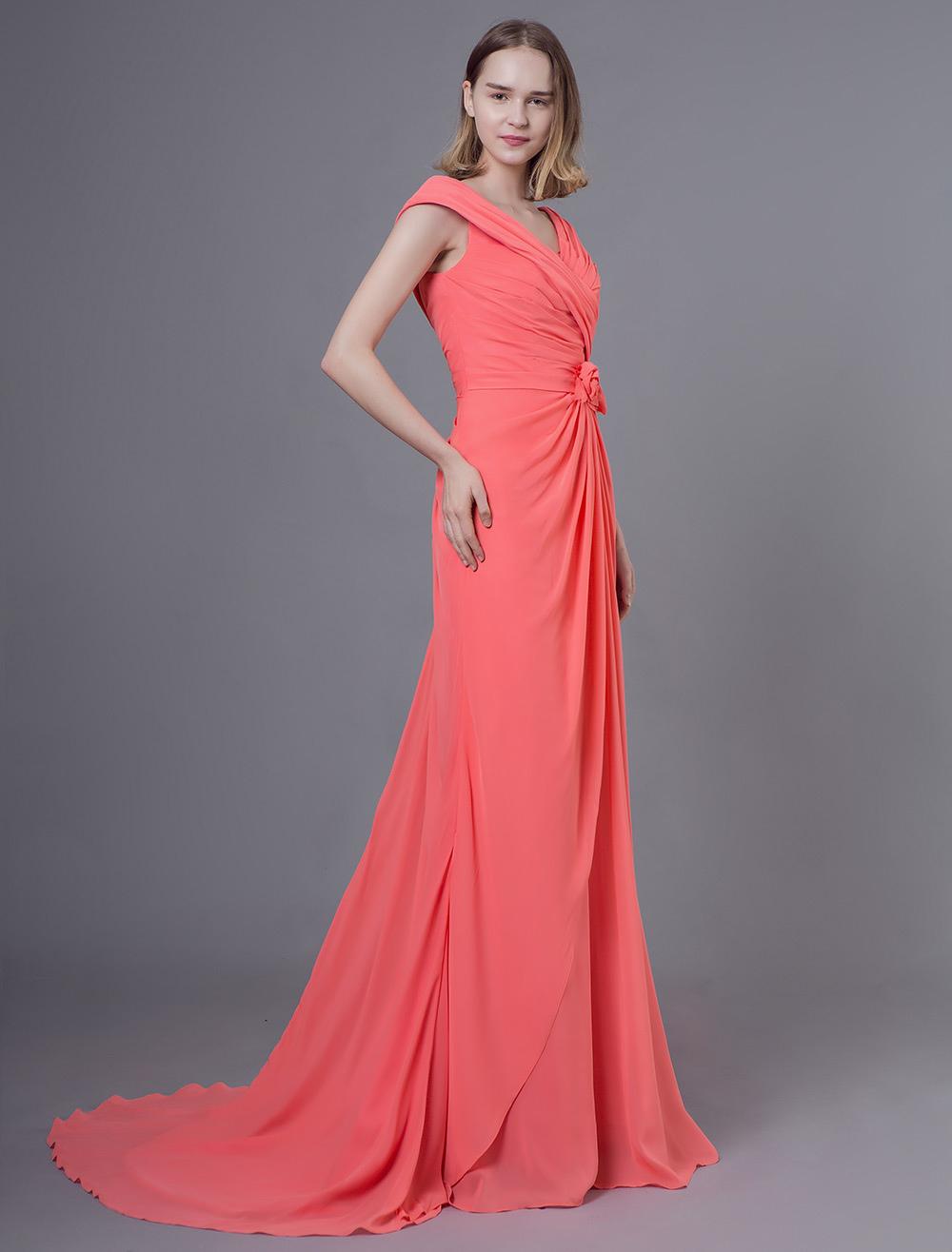 Brautjungfer Kleider lange Chiffon Lachs Blumen plissiert  Hochzeitsgesellschaft Kleid mit Zug