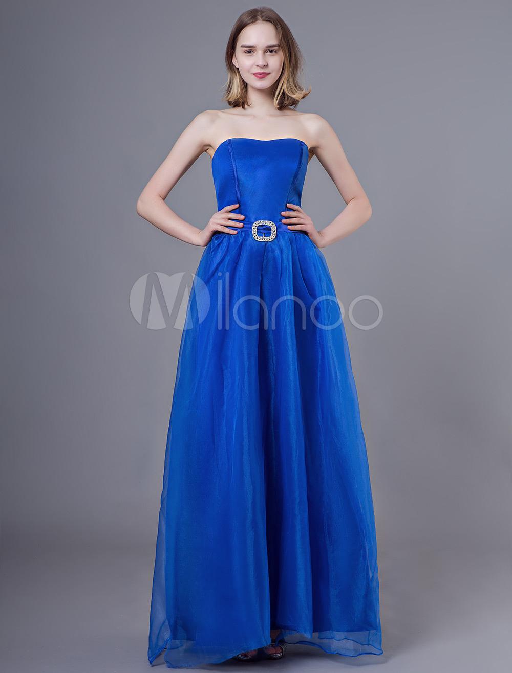 huge selection of af348 876d0 Abito da cerimonia lungo formale in organza blu royal senza bretelle