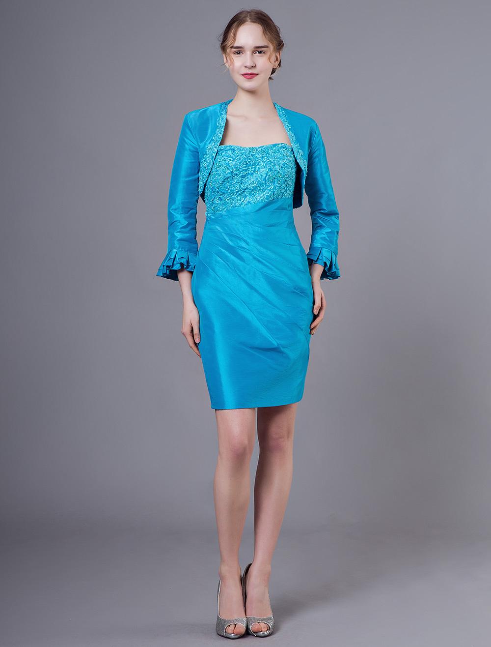 brautmutterkleider etui- abendkleider für hochzeit blaugrün kleider für  hochzeitsgäste taft trägerlos hochzeit mini-kleid 3/4 Ärmel
