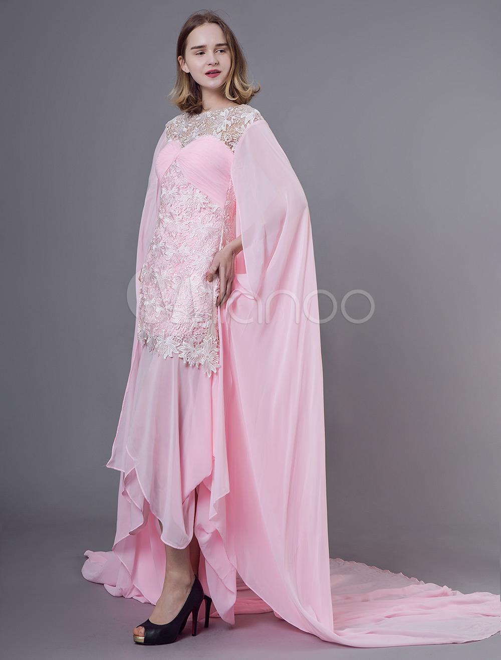 79a94e2ddbcb1 فساتين سهرة فستان شيفون عربي وردي فاتح شيفون واتو - Milanoo.com